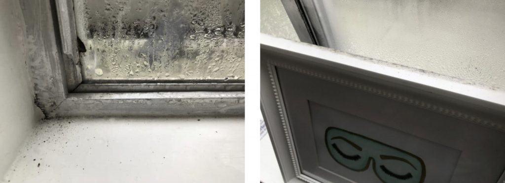 Condensation on this inside of aluminium-frame windows.